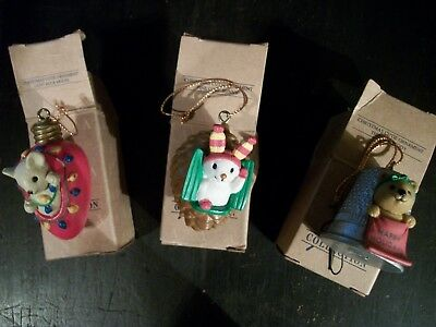 Avon Gift Collection Christmas Ornament Set ~ Mouse, Bunny, Teddy ~ W/Boxes