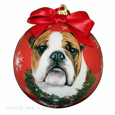 E & S Pets Bulldog Shatter Proof Christmas Ball Ornament