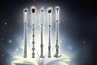5pc Magical Silver Potter Harry Magic Makeup Face Brow Eye Blending Brushes Set