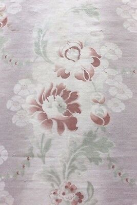 "Pretty French Art Nouveau Cretonne Cotton Floral Fabric c1905~33""L X 32""W"
