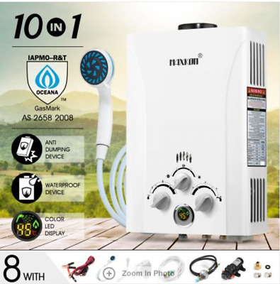 10 in 1 550L/Hr Portable Outdoor Gas LPG Instant Shower Water Heater - White