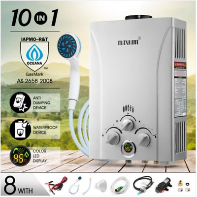 10 in 1 550L/Hr Portable Outdoor Gas LPG Instant Shower Water Heater - Silver