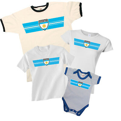ARGENTINA World CUP 2018 Retro Strip T-Shirt Football MENS LADIES KIDS BABY