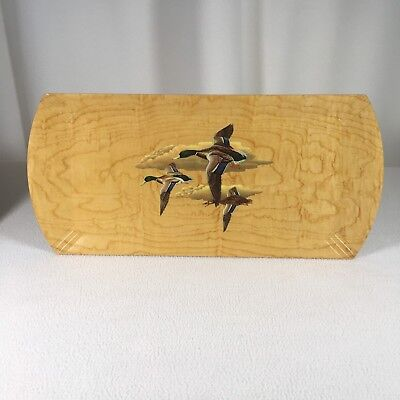"""Duck Tray Wood With Lithograph HaskeLite 16.25"""" X 7.5"""" Vintage Duck Collectible"""