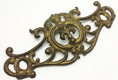 Antique Victorian Drawer Pulls Set of 6 Plates Fleur de Lis Brass Hardware 1800s
