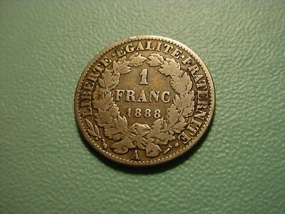 France - Silver - 1888-A 1-Franc In Very Nice Condition