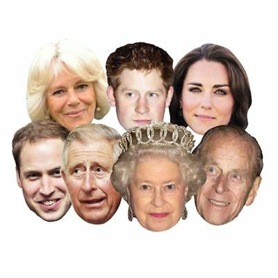 7 Pack Royal Family Face Masks Queen Phillip Kate William Harry Charles Camilla