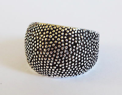 LARGE TRENDY TEXTURED FINISH RING-925 Sterling Silver - Adjustable - N/O P/Q R/S