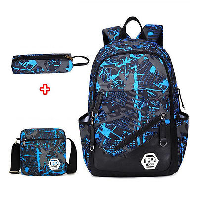 Boys School Bags Backpack for Teenagers Pencil Case Blue Book Bag Boyu.3pcs/set