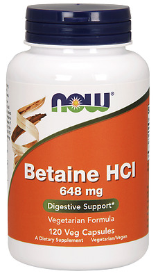 NOW BETAINE HCL (120 CAPSULES) hydrochloride hci digestive enzymes 06/2020EXP