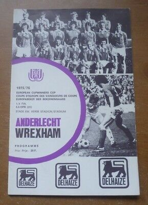 Anderlecht v Wrexham, 1975/76 - Cup Winners Cup Quarter-Final Match Programme