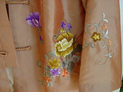 Womens Chinese Peach All Silk Short Jacket W Heavy Embroidery Flowers