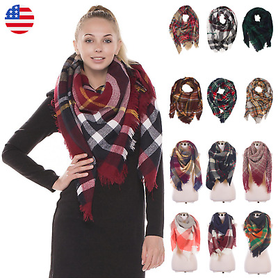 Women Warm Large Oversized Square Long  Blanket Plaid Tartan Pattern Scarf Wrap