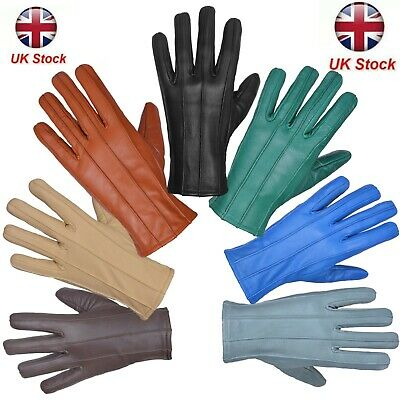 Mens Leather Gloves Soft Feel Fully Lined Fleece Winter Warm Outdoor Walking New