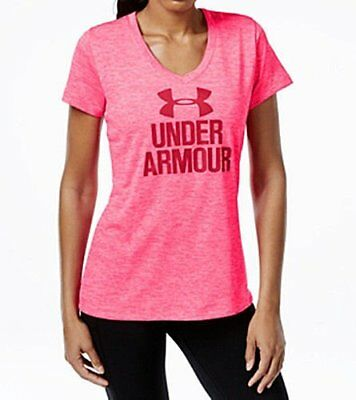 NWT Under Armour Women's UA Tech Graphic Tee Pink/White Loose Fit T-Shirt Size M