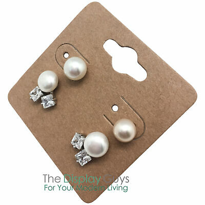 "500pc 2x2"" Inch Kraft Paper Earrings Display Hanging Cards for Accessory Jewelry"