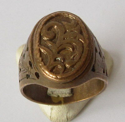 19TH TO 20TH C COPPER MEN'S RING HAND MADE With NICE OPEN WORK!!! # 855