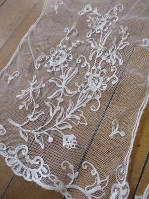 Lovely Antique Lace Scarf-  Dainty Floral Tambour Embroidery