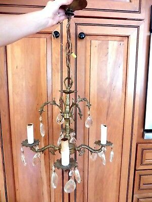 Vintage Brass Chandelier 4 light arm candle style holds crystals Made in Spain
