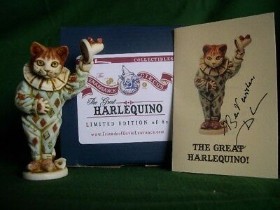 H K Artist David Lawrence Solid Circus Cat Figurine Harlequino – Limited to 80