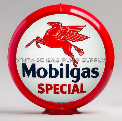 "Mobilgas Special 13.5"" Gas Pump Globe w/ Red Plastic Body (G149)"