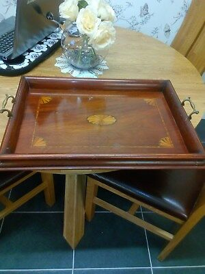 vintage wooden inlaid marquetry tray with brass handles with green felt base.
