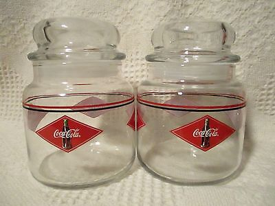 Coca Cola Advertising Glass Candy Jar w/Seal Cover Anchor Hocking Co, set of 2