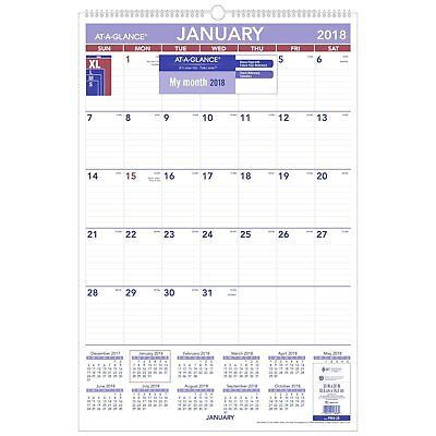 "AT-A-GLANCE Monthly Wall Calendar, January 2018 - December 2018, 20"" x 30"" PM428"