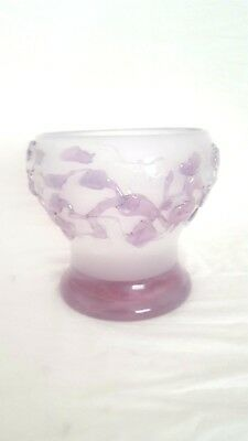 "Ion Tamaian ""Bowl, White w/ Lavender Leaves"" Signed with Cert of Auth"