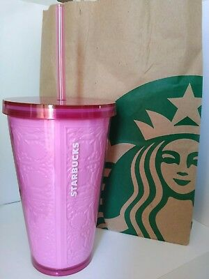 New Starbucks Cold Cup Embossed Pink Flowers 16 fl oz Grande Tumbler
