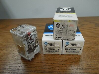 Allen-Bradley 700-HB33A24 10A 3PDT 24 VAC 50/60Hz Relays Set of 3 New Surplus