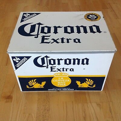 Vintage Corona Extra Cerveza Beer Metal Ice Chest Cooler Mexico Modelo Porcelain
