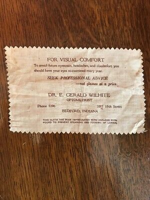 Vintage Antique Dr. Wilhite Optometrist Lens Cleaning Cloth Bedford Indiana
