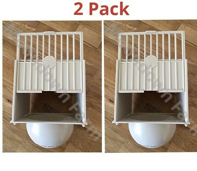 2 x PLASTIC BREEDING NEST PAN/BOX CANARY FINCH BRITISH Hooks on Cage Front