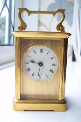 LOVELY 8 DAY ANTIQUE FRENCH CARRIAGE MANTLE CLOCK BY R & Co c1900