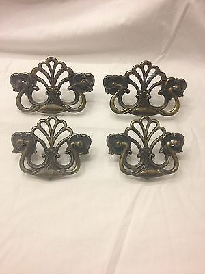 Four Vintage Metal Drawer Pulls, Ornate Style Handles
