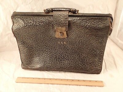 Vintage Black Pebble Grain Leather Doctor's Physician's Bag Briefcase