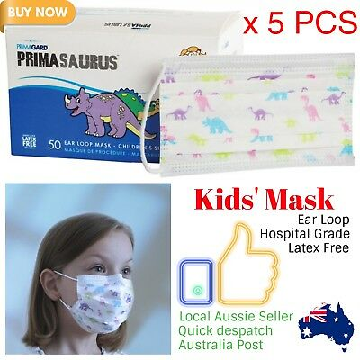 Influenza Hayfever Mask for Children Kids Ear Loop Disposable Latex Free 5pcs