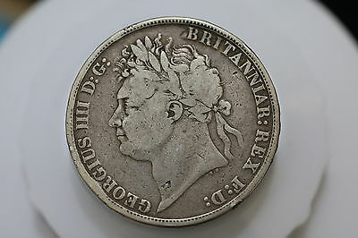 Uk Gb Crown 1821 Silver Scarce Nice Details A69 #6808