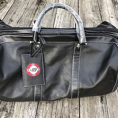 New World Poker Tour Faux Leather Duffel Bag Tote Large Black Carrying Strap