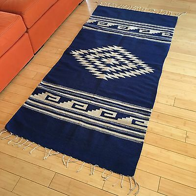 Vintage Wool Throw Rug Mexico 3 x 6.5 ft Blue Flat Weave 1970 With Fringe Latin