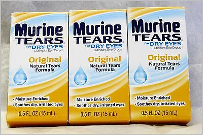 3X Murine Original Natural Tears Eye Drops For Dry Eyes New Sealed Free Shipping