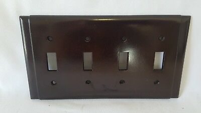 Vintage Bakelite 4 Toggle Switch Plate Cover - Brown Nos Art Deco Mid Century
