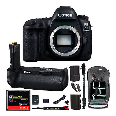 Canon EOS 5D Mark IV DSLR Camera (Body Only) with Battery Grip and 64GB Bundle