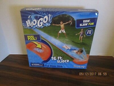 H2O Go Single 16' Inflatable Water Slide with Drench Pool Slip Fun Bestway NEW