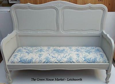 Bespoke Solid wood French Bench Settle upholstered Laura Ashley Linen Toile