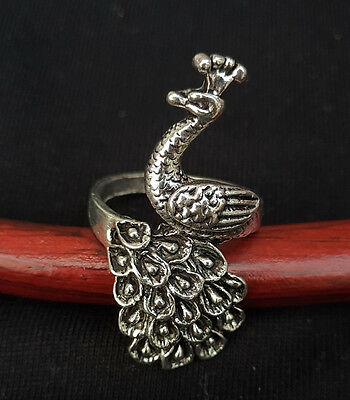 Chinese hand carved Tibet silver exquisite peacock ring a1020