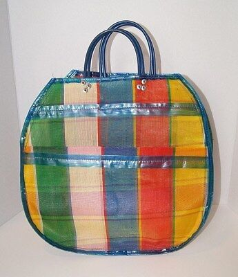 Vintage 60s Shopper Tote Plastic Plaid Blue Green Red Yellow