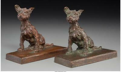 A PAIR OF EDITH B. PARSONS BRONZE DOG BOOKENDS MARKS: E.B. PARSONS,... Lot 65324