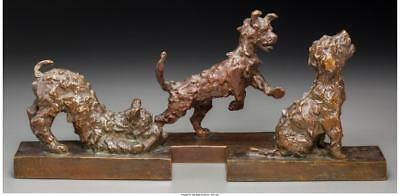 THREE EDITH B. PARSONS BRONZE DOG BOOKENDS MARKS TO TWO: E.B. PARSO... Lot 65320